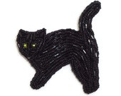 BLACK CAT beaded art pin pendant necklace jewelry (Made to Order) Free US Shipping