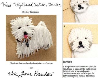PDF en español: WESTIE Tutorial de bordado con cuentas del prendedor o pendiente de perro (Exclusivo para uso personal)
