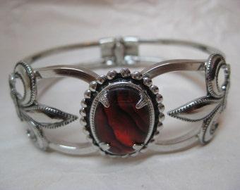 Red Shell Cab Fleur de Lis Silver Bracelet Clamper Vintage Clamp
