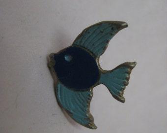 Shabby Fish Blue Lapel Pin Vintage Tie Tack