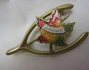 Sarnia Brooch Wishbone Canada Maple Leaf Green Red Gold Enamel Vintage Pin