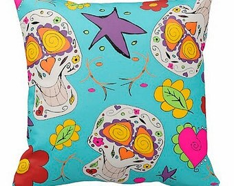 Day of the dead sugar skulls pillow round toss pillow or square you choose teen room decor kids adults skulls hearts flowers turquoise blue