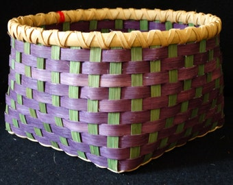 Hand Woven Basket in Purple and Shamrock or Kelly Green. Storage Basket.  Baskets. Hand made baskets in fun colors!