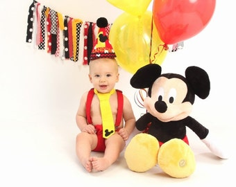 Mickey Mouse Rag Tie Banner, Photography Prop, rag tie Garland, Birthday Banner, Fabric Bunting, Fabric Banner, Photo Prop, 1st Birthday