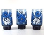 3 Vintage Mod Glasses - Libbey / Rock Sharpe - Camellia Blue Tumblers