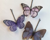 Soft - Handmade Cotton and Silk Organza Lilac Violet Purple Butterflies Bobby Pins - 3 pieces