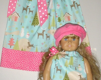 Christmas pillowcase dress Aqua and pink  Riley Blake fabric matching doll dress sizes 12 , 18 months , 2t, 3t, 4t, 5t,
