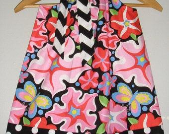 pillowcase dress Pink Black flowers dots Chevron Freespirit Fabric  Wild Child  pillowcase dress 3,6,9,12,18 months 2t,3t,4t,5t,6,7,8,10,12
