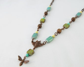 Queen Bee, Mom and baby bee, green, teal natural brass necklace by CURRICULUM