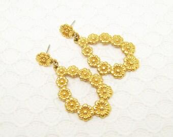 Long Hoop Earrings Daisy Flower Jewelry E6176
