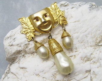 Vintage Mask Brooch Pearl Dangles Jewelry P6326