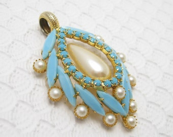 Large Vintage Pendant Pearl Turquoise Glass Jewelry C6481