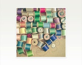 Sewing Art, Still Life Photography, Craft Room Decor, Colourful, Shades of Green and Blue, Retro Wall Art, Multicolour - Cotton Reels