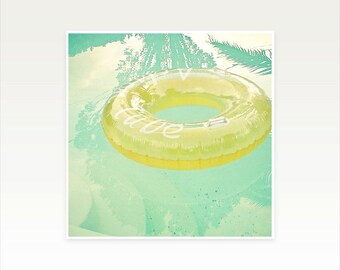 Swimming pool art, Water Photography, Mint Green and Yellow, Aqua, Mid Century, Abstract, Summer Colours - Inviting