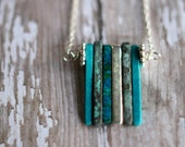Ceramic Sea Spikes, Modern Necklace,  Teal Blue-Green, Metallic, Verdigris Green, Turquoise Green, Aqua, Silver