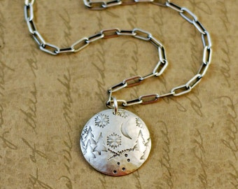 """sterling silver, 3/4"""", charm, pendant, winter, snow, snowflakes, seasons, trees, nature, moon, hiking, hills, rustic, oxidized, disk, disc"""