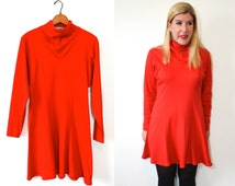 Red Turtleneck Dress - Short Red Dress - Red Long Sleeve Dress