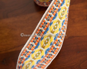 1 1/2  yards of Mod Vintage Trim -  60s 70s New Old Stock Woven Geometric Woven Colorful