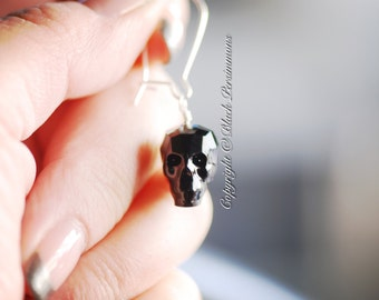 Skulls Earrings - Swarovski Crystal Passions® Jet 14x13x10mm Faceted Skull - Insurance Included