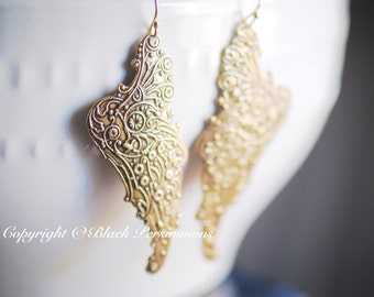 Angel Wings Earrings - American Made Antique Gold Plated Brass - Gold Filled Ear Wires - Insurance Included