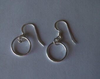 Simple small sterling silver dangle hoop circle earrings