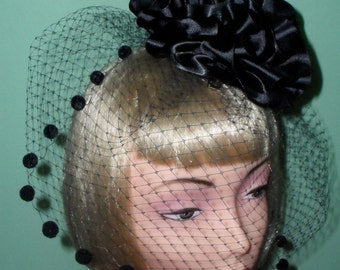 Sale was 68.00 Now 34.00 Ready To Be Shipped Black Veiled Circular Black Hat With Black PomPoms,Black Dotted Veiling,Black Cocktail Hat,Goth