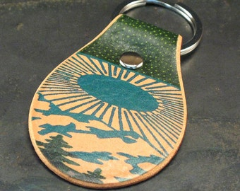 Mountains on leather keychain