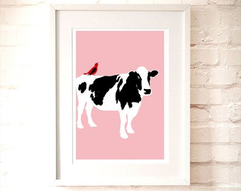 Cow on pink -  Kids Art Prints, nursery art, red bird, nursery decorating ideas, nursery farm animals