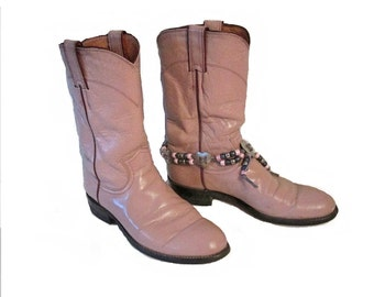 Lavender womens Justin boots - Size 6.5 - - Purple - Includes boot anklet