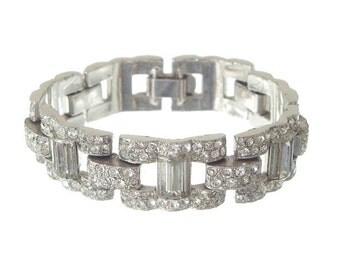 Vintage Rhinestone Art Deco Bracelet, Wide Baguette Cuff, Antique Deco Link, 1920s Art Deco Jewelry, Wedding Jewellery