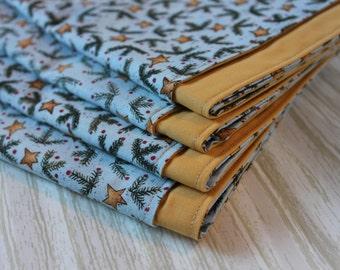 Christmas Napkins Stars Mustard set of 4 Cloth SALE
