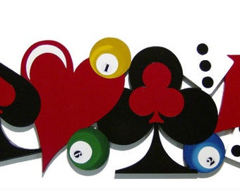 New card dice billiards game themed handmade wood wall sculpture 34x13
