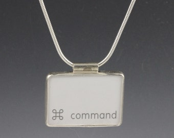 SALE - Computer Key Jewelry - rePURPOSED White Apple Mac Command Key v2 Pendant with Sterling Snake Chain