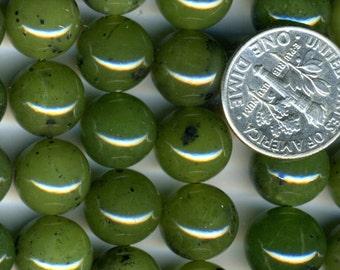 "CANADIAN NEPHRITE JADE 10mm Round beads 16"" strand Natural stone"