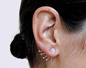Mexican Silver Ear Jacket Earrings,  sterling silver ear jacket earrings, Funky ear jacket earrings in silver