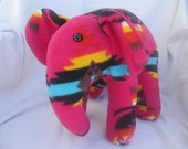 Navajo blanket elephant, pink fire, pendleton inspired, stuffed animal, plush, plushie, hot pink and black, pendleton blanket, native indian