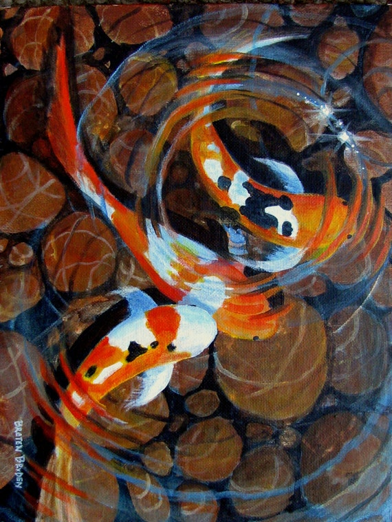 Japanese koi fish pond original acrylic painting 8 for Koi fish pool table
