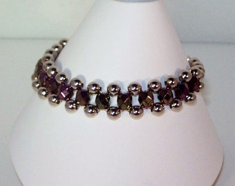Czech Crystal Jewelry - Purple Iris and Silver Metallic Crystal Bracelet - Any Color - SHIPS WITHIN 24 Hrs
