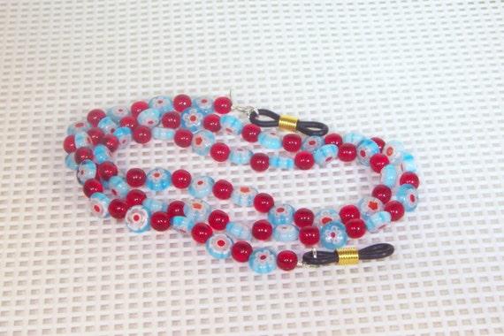 Light Blue Mille Fiori Glass - Eyeglass Necklace