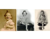 1950s Studio Portraits Photographs Little Girl As She Grows Hand Tinted Black and White Girl in Braids White Baby Shoes 8 by 10 Pigtails