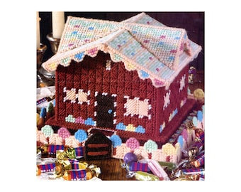 Gingerbread House Plastic Canvas Needlepoint Pattern Christmas Decor Vintage Crafts Candy Box Tiny Dollhouse Holiday Craft