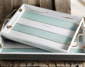 Set of two distressed finish crate style serving trays, beach decor, nautical decor