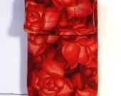 Cell Phone Case, Roses gadget pouch, glasses case, floral, velcro pouch
