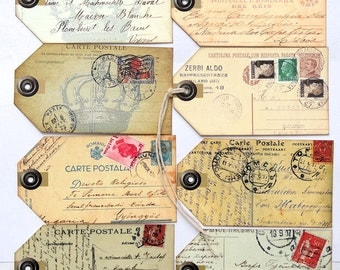 Primitive Grungy Vintage Style Mixed Postcards Gift or Scrapbook Tags #152