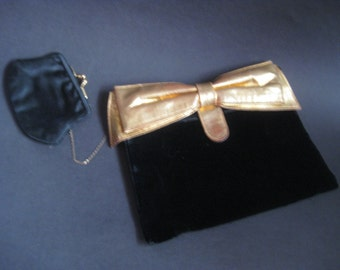 Soft Black Velvet 1940's Clutch with Gold Bow and Change Purse Vintage Evening Wear