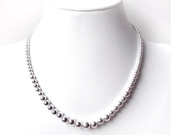 Sterling Silver Bead Necklace - 8mm to 4mm - Everyday Wear - Sterling Ball Necklace - Graduated Beads