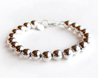 Bracelet - Sterling Silver Bead Bracelet - 8mm Beads - Everyday Wear - Sterling Ball Bracelet - Classic Silver Bracelet - 925