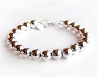 Bracelet - 8mm Sterling Silver Bead Bracelet - Everyday Wear - Sterling Ball Bracelet - Classic Silver Bracelet - 925 - Silver Beaded