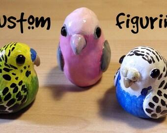 Custom Pudgy Budgie/Parakeet/Parrot Bird Sculpture/Figurine - Made to Order