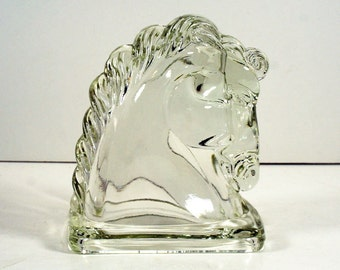 Vintage Art Deco Glass Horse Head, Clear Glass, Bookend
